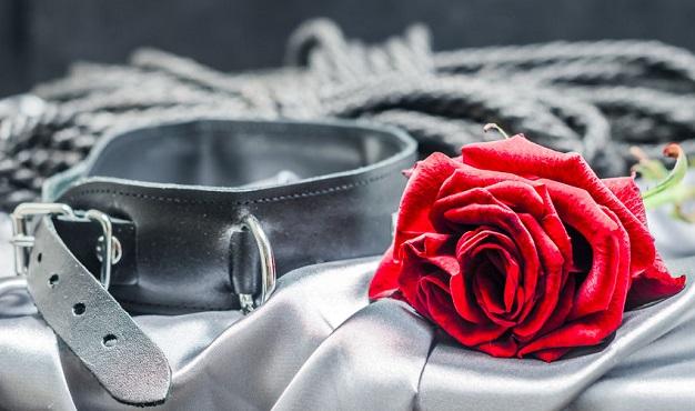 拘束具と赤いバラ
